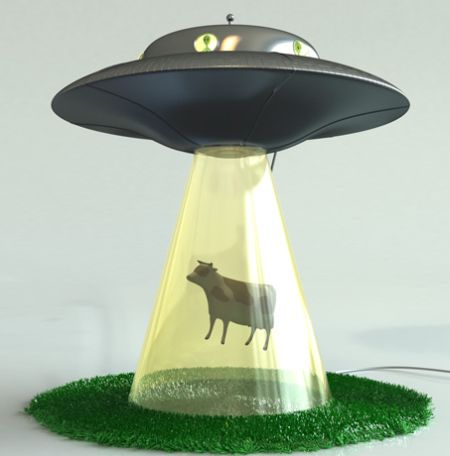 alien abduction lamp cow