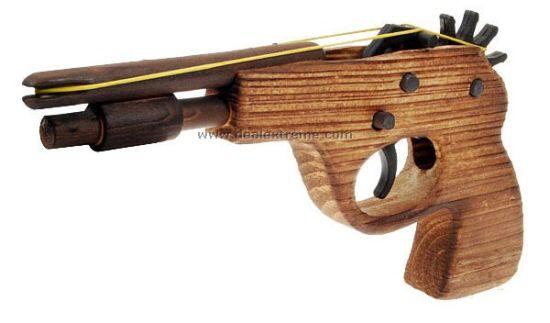 classical rubber band launcher wooden pistol gun