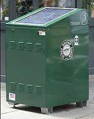 solar powered trashcan