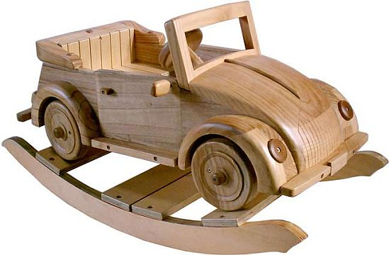 solid wooden rocking car
