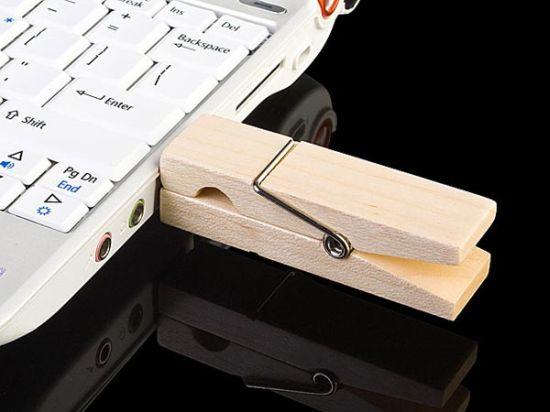 usb wooden clip flash drive 1