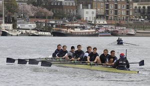 The Oxford University rowing team train on the River Thames in west London