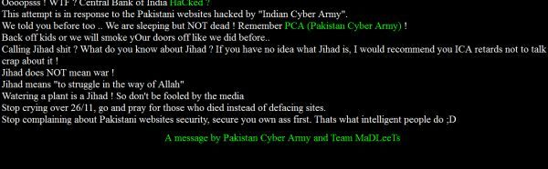 Pakistan Cyber Army hits Central Bank of India