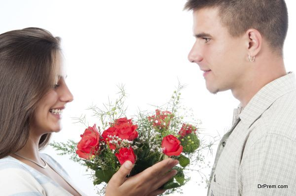 giving  roses to someone